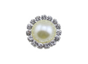 20 Pieces Clear Crystal Pearl 15MM Metal Rhinestone Buttons Flatback No Shank-White