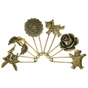 LEFV™ Bronze Tone Safety Pins Brooches Jewellery Making Charms Vintage Hijab Brooch Collar Shawl Scarf Pins,Pack of 6,Assorted Style