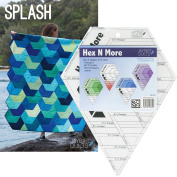 Bundle of Jaybird Quilts Splash Quilt Pattern and Hex N More Ruler, 5 Finished Size Quilt Options