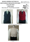 Men's Single Breasted Notched Collar Vest 1870-1915 Sewing Pattern #3