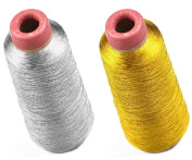 SummerBoom Gold & Silver Metallic Embroidery Machine Threads Polyester Sewing Thread 6000 Yards