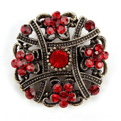 1 pc Antique Gold Plated Crystal Rhinestones Vintage Flower Brooch Collar Lapel Pins for Women # 04