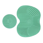Makeup Brush Cleaning Mat, Makeup Brush Cleaner Pad Cosmetic Brush Cleaning Mat Portable Washing Tool Scrubber Suction Cup Set of 2
