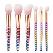 ILOBE 2017 Vegan Hair Makeup Brushes Set - 6 Piece Rainbow Unicorn Handle Cosmetic Brush Application Powder Blush Eyeshadow