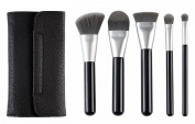 CLOTHOBEAUTY Deluxe charcoal anti-bacterial makeup brush set, 6 Pcs Brushes with brush bag