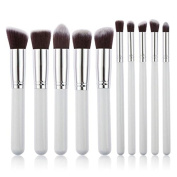 10PCS Foundation White/Pink/Black Blending Brush LA Makeup Tool Cosmetic Set