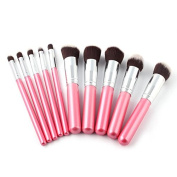 10PCS Foundation Pink Blending Brush Makeup Tool Cosmetic Set