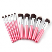 10PCS Foundation Pink Blending Brush Makeup Tool Cosmetic Set