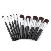 10PCS Foundation White/Pink/Black Blending Brush LA Makeup Tool Cosmetic Set