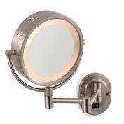 Jerdon 5X/1X Nickel Lighted Hardwired Wall Mount Mirror