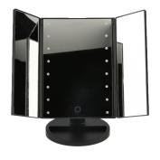 3-folder MakeUp Mirror with 16 Led Lights, Travel Mirror,Mirror with Lights with USB (Battery4 Included) Black