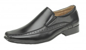 Goor Mens Boys Slip-On Casual Brogues. Leather Qtr Lining. Black or Brown.