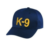 K9 - Cap/ Hat Patch - Gold/ Dark Navy Blue, Adjustable - Police, Sheriff, CHP, Security, Cap Patch, Gaol, Prison, Corrections - Sold by UNIFORM WORLD