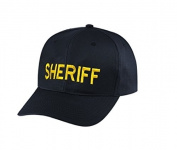 SHERIFF Cap/ Hat Patch - Medium Gold/ Black, Adjustable - Police Patch, Gaol, Prison, Corrections - Sold by UNIFORM WORLD