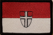 [Single Count] Custom and Unique (8.9cm x 5.7cm Inches) VIENNA AUSTRIA National FLAG Rectangle Patriotic National Bordered Flag Badge Iron-On Embroidered Applique Patch BLACK BORDER