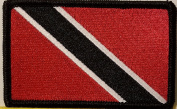 [Single Count] Custom and Unique (8.9cm x 5.7cm Inches) Trinidad and Tobago National FLAG Rectangle Patriotic National Bordered Flag Badge Iron-On Embroidered Applique Patch BLACK BORDER