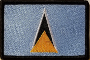 [Single Count] Custom and Unique (8.9cm x 5.7cm Inches) Saint Lucia National FLAG Rectangle Patriotic National Bordered Flag Badge Iron-On Embroidered Applique Patch BLACK BORDER