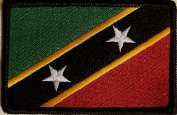 [Single Count] Custom and Unique (8.9cm x 5.7cm Inches) Saint Kitts and Nevis National FLAG Rectangle Patriotic National Bordered Flag Badge Iron-On Embroidered Applique Patch BLACK BORDER