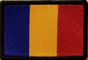 [Single Count] Custom and Unique (8.9cm x 5.7cm Inches) ROMANIA National FLAG Rectangle Patriotic National Bordered Flag Badge Iron-On Embroidered Applique Patch BLACK BORDER