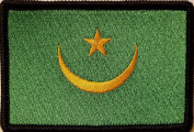 [Single Count] Custom and Unique (8.9cm x 5.7cm Inches) Mauritania National FLAG Rectangle Patriotic National Bordered Flag Badge Iron-On Embroidered Applique Patch BLACK BORDER