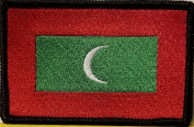 [Single Count] Custom and Unique (8.9cm x 5.7cm Inches) Maldives National FLAG Rectangle Patriotic National Bordered Flag Badge Iron-On Embroidered Applique Patch BLACK BORDER