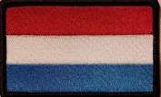 [Single Count] Custom and Unique (8.9cm x 5.7cm Inches) Luxembourg National FLAG Rectangle Patriotic National Bordered Flag Badge Iron-On Embroidered Applique Patch BLACK BORDER