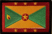 [Single Count] Custom and Unique (8.9cm x 5.7cm Inches) GRENADA FLAG Rectangle Patriotic National Bordered Flag Badge Iron-On Embroidered Applique Patch BLACK BORDER