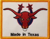 [Single Count] Custom and Unique (10cm X 7.9cm Inches) MADE IN TEXAS STATE Symbol Embroidered Iron-On Patch TEXAN BULL Emblem SOUTH Version VII Badge Iron-On Embroidered Applique Patch