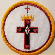[Single Count] Custom and Unique (7.9cm Inches) Freemason Symbol Embroidered Iron-On Patch Masonry Emblem Mason Version V Badge Iron-On Embroidered Applique Patch