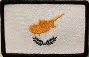 [Single Count] Custom and Unique (8.9cm x 5.7cm Inches) CYPRUS FLAG Rectangle Patriotic National Bordered Flag Badge Iron-On Embroidered Applique Patch BLACK BORDER