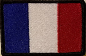 [Single Count] Custom and Unique (8.9cm x 5.7cm Inches) FRANCE FLAG Rectangle Patriotic National Bordered Flag Badge Iron-On Embroidered Applique Patch BLACK BORDER