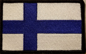 [Single Count] Custom and Unique (8.9cm x 5.7cm Inches) FINLAND FLAG Rectangle Patriotic National Bordered Flag Badge Iron-On Embroidered Applique Patch BLACK BORDER