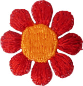 2.5cm Small Red Daisy with Orange Centre - Embroidered Iron On or Sew On Patch