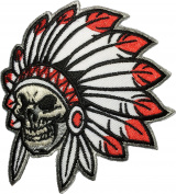 Native American Indian Chief Feather Death Skull Biker Motorcycle Vest Embroidered Sewing Iron on Patch
