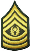 US Army Sergeant E-9 Major Rank Chevron Stripes Uniform Sewing Iron on Arms Shoulder Applique Embroidered Patch - Gold/Green (1 Piece)