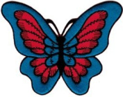 Red & Blue Butterfly - Embroidered Iron On or Sew On Patch