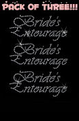 BRIDE'S ENTOURAGE clear rhinestone iron-on Hotfix transfer bling DIY- Lot of 3!!!