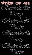 BACHELORETTE PARTY clear rhinestone iron-on Hotfix transfer bling DIY- Lot of 4!!!