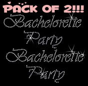 BACHELORETTE PARTY clear rhinestone iron-on Hotfix transfer bling DIY- Lot of 2!!!