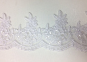 Pearl and sequined lace trim, beading cord lace trim, bridal lace trim selling per yard