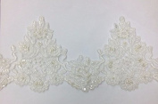 Pearl beaded lace trim, bridal alencon lace, sequined lace trim for bridal veil, bridal dress selling per yard, Setting With Organza on the background