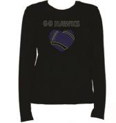 Rhinestone Go Hawks T Shirt LR GW3A
