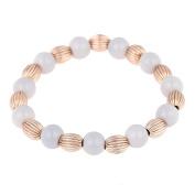 Brass bracelet golden grooves pearls grey pearls adjustable