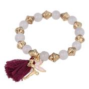 Brass bracelet golden purple grey tassel pearl Charm Elfe adjustable