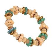 Brass Bracelet golden silver pearl rings glass rose bluecream adjustable