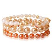 Glasperlenarmband cream orange gold three layer pearl elastic adjustable Bracelets