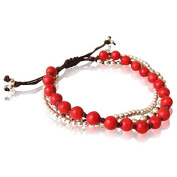 Bracelet three layers coral red brass beads waxed cotton brown nickel free adjustable