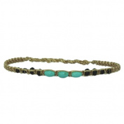 Bracelet beige cotton black wooden beads turquoise beads turquoise handgef.¤delt unisex waxed
