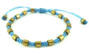 Designer bracelets light blue round Brass Beads Brass Bracelet waxed cotton Unisex