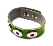 Leather strap with buttons for chunks buttons Leather Strap Unisex Jewellery Bracelets green